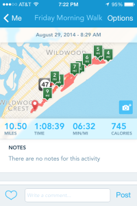 A saved RunKeeper activity shows distance, time and even calories burned (provided the user inputs his/her weight).