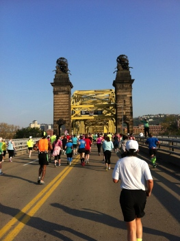 Up and over the Rachel Carson Bridge, approaching mile 4