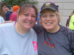 Lana (left) and Pam at a 5K in 2013