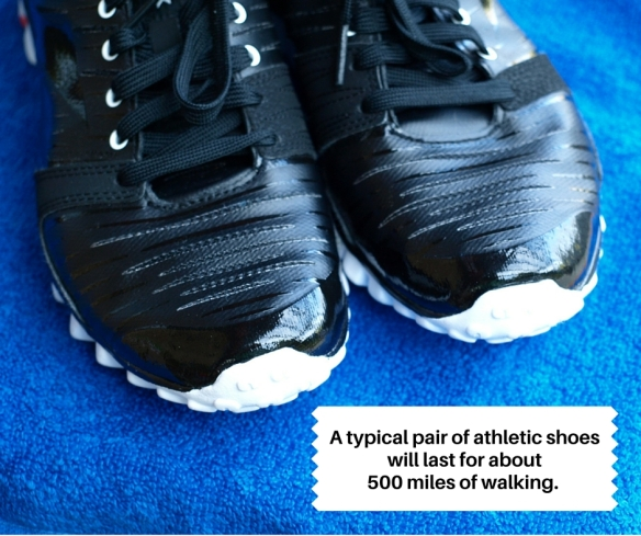 A typical pair of athletic shoes will last for about 500 miles of walking.